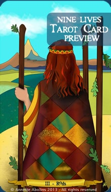 III Rods - Nine Lives Tarot by Annette Abolins