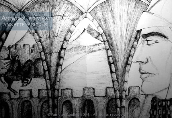 Knight of Swords - WIP - Pen & ink Annette Abolins