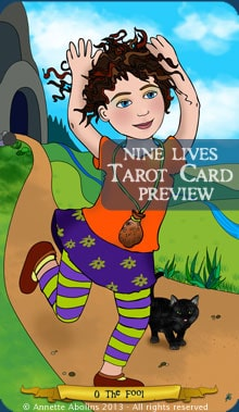 The Fool - Nine Lives Tarot - illustrated by Annette Abolins