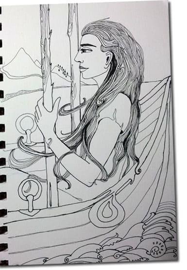 line drawing of Tarot card