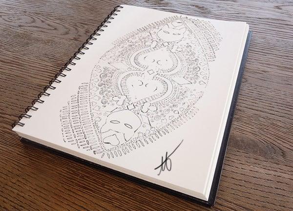 Sketch for Nine Lives playing card backs