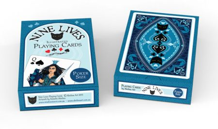 Nine Lives Playing Cards - box design for poker size deck by Annette Abolins