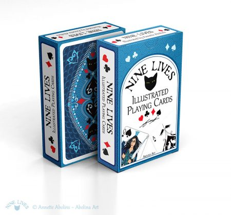 View of tuckbox front and back - Nine Lives Playing Cards