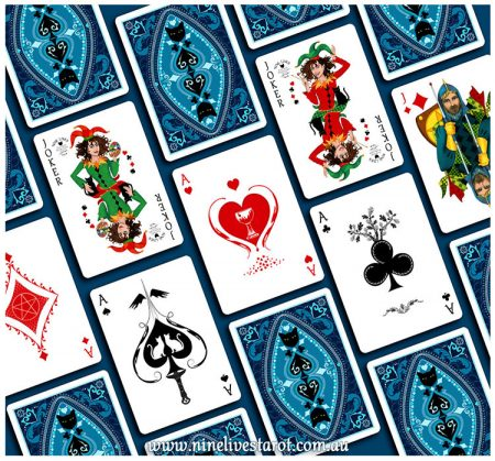 Tarot inspired Aces and artist inspired Jokers in Nine Lives Playing Cards