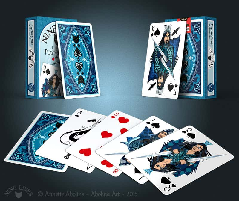 Box and card display of Nine Lives Playing Cards - Annette Abolins