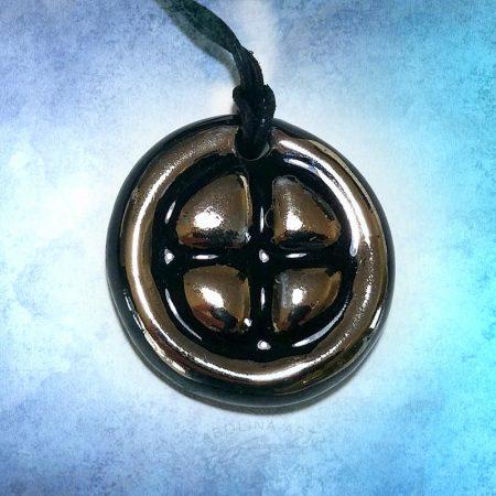 Platinum lustre sunwheel pendant