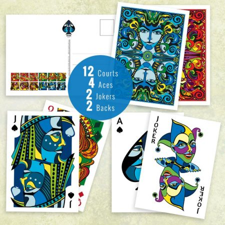 12 courts, 4 aces, 2 backs and 2 Jokers in set of VIZAĜO postcards