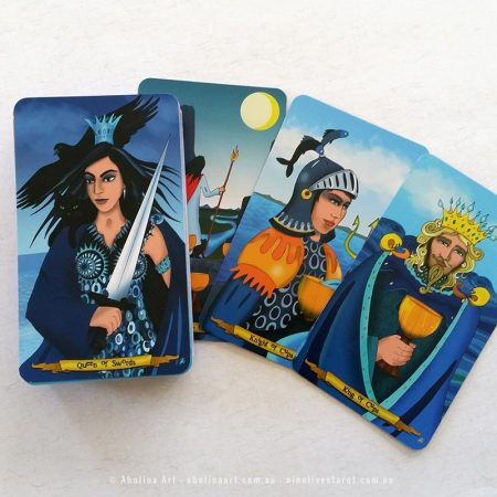 Queen of Swords, 8 of Cups, Knight of Cups and King of Cups by Annette Abolins
