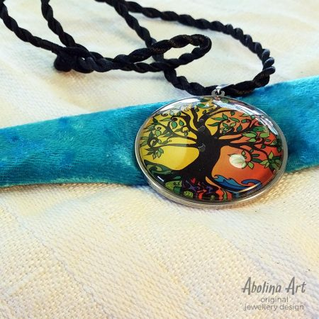 Tree of Life - Summer red and yellow art pendant