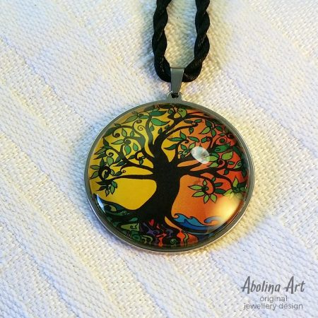 Tree of Life pendant - summer 40mm glass dome cabochon art pendant strung on twisted silk cord
