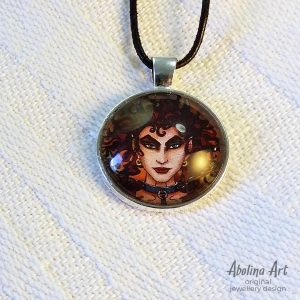 Devilish 25mm glass dome art pendant