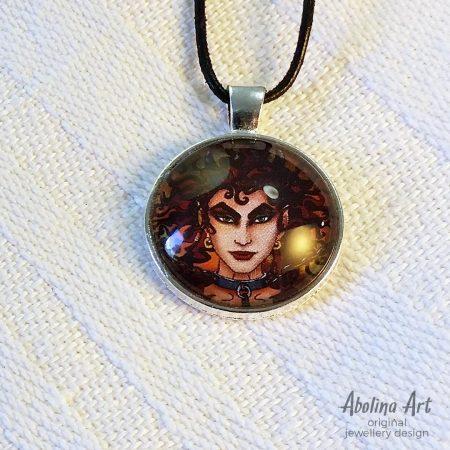 Devilish 25mm glass dome art pendant