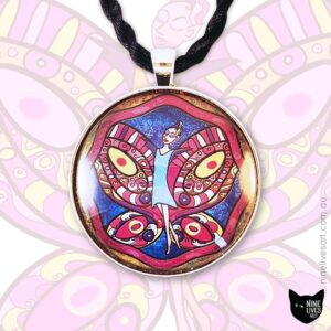 Fairy with cerise wings against blue sky 40mm art pendant set in cabochon and strung on black cord