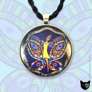 Fairy in yellow dress soaring the midnight sky on turquoise wings 40mm art pendant set in cabochon and strung on black cord