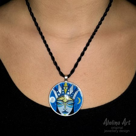 Moon Goddess pendant worn by model