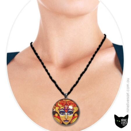 Sun Goddess pendant worn by model