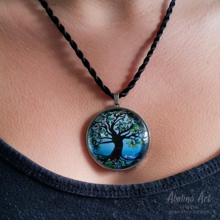 Tree of Life - Dawn 40mm art glass dome pendant worn by model