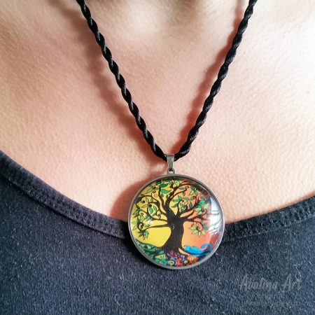 Model wearing Tree of Life Pendant 'Summer' 40mm art glass dome pendant