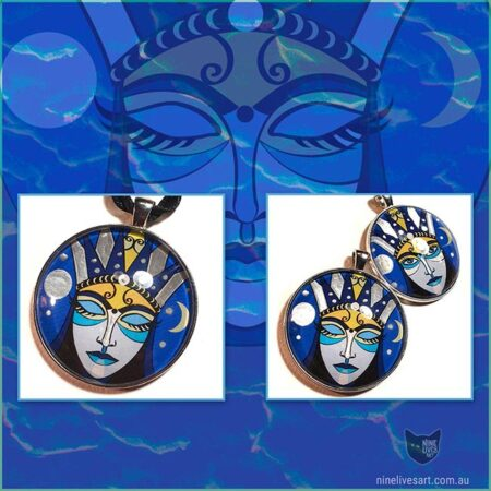Moon Goddess art pendants featured on dark blue background showing original artwork