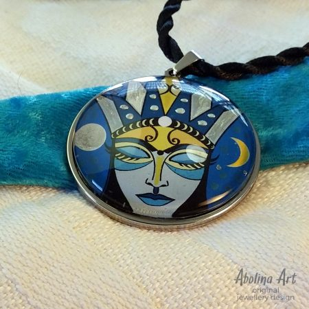 Moon Goddess art pendant