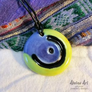 Moon pendant stoneware clay lime and blue colour on leather cord
