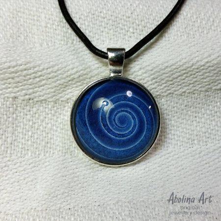 Nine Lives blue spiral pendant