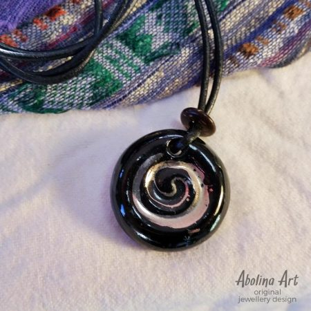 Small Spiral pendant - lustre on black