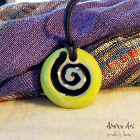 Small Lime spiral pendant kiln fired stoneware clay