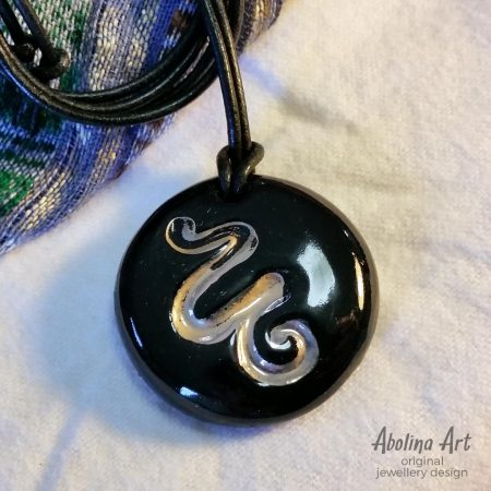 Snake pendant black with lustre