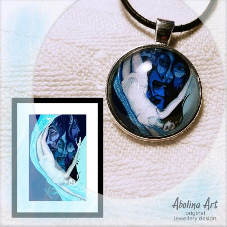 Spiral art pendant displayed with artwork reference