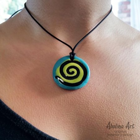 Model wearing Turquoise spiral pendant
