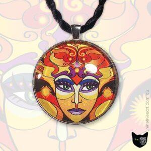 Sun Goddess art pendant in warm colours