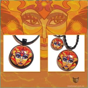 Sun Goddess art pendants displayed on background of original artwork in warm orange tones