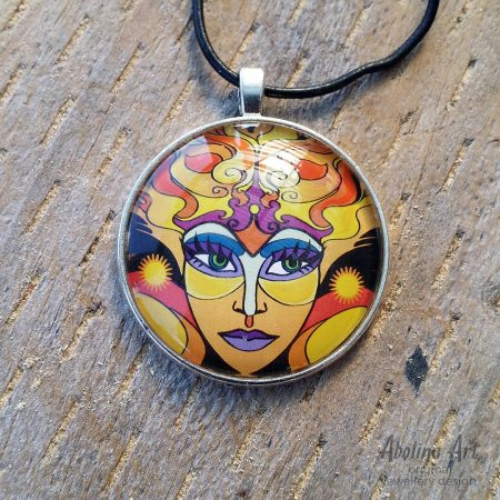 Sun Goddess 40mm round glass dome art pendant