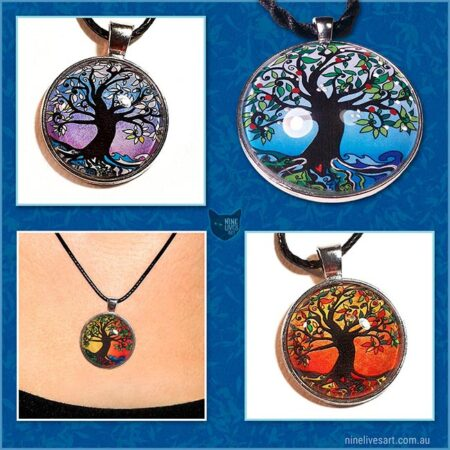 Tree of Life art pendants in season colours handcrafted to be striking and comfortable to wear