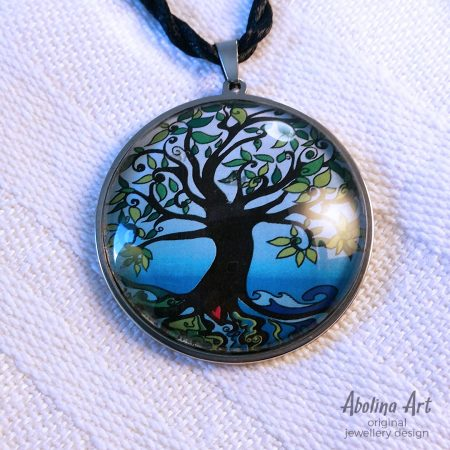 Tree of Life - Dawn blue hue 40mm glass dome cabochon pendant
