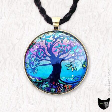 40mm Tree of Life art pendant strung on silk cord