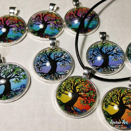 25mm art pendants Tree of Life seasons and colour variants