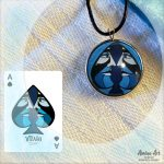VIZAĜO Ace of spades pendant displayed with playing card artwork reference