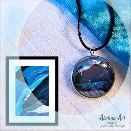 Whale dreaming pendant displayed with artwork reference