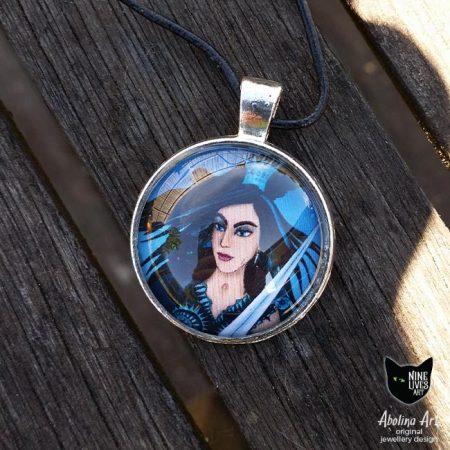 25mm art pendant featuring Queen of Swords from Nine Lives Tarot