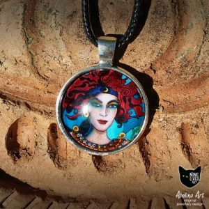 25mm glass dome original art pendant featuring chariot from Nine Lives tarot