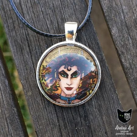 25mm art pendant featuring devil archetype from Nine Lives Tarot cabochon and antique silver metal setting