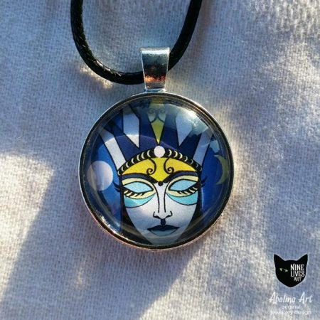 Moon Goddess small pendant set in 25mm glass dome cabochon with antique silver back