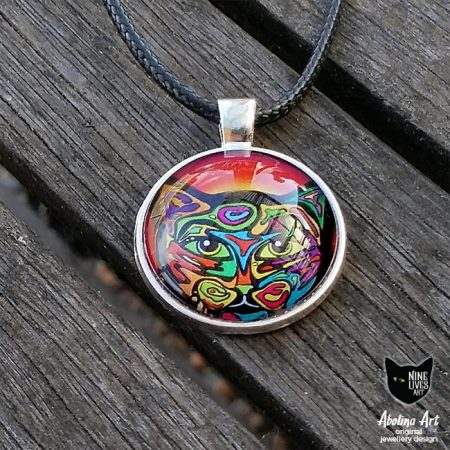 Cat pendant 25mm cabochon set in antique silver metal bright psychedelic art
