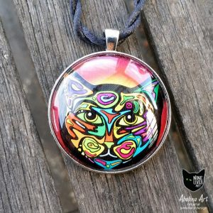 Cat pendant psychedelic artwork set in 40mm glass dome with antique silver metal back