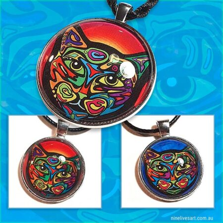 Psychedelic cat pendants in red and blue by Abolina Art