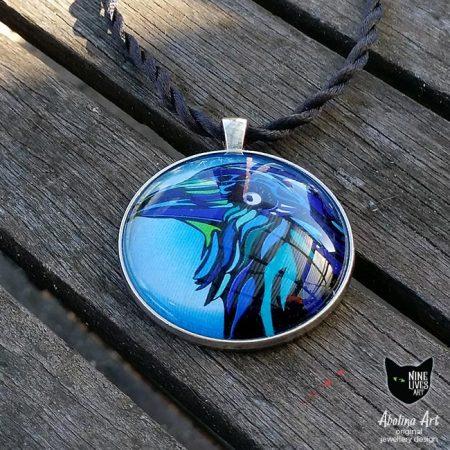 Blue Raven art pendant 40mm handmade original art set in glass dome with antique silver metal back