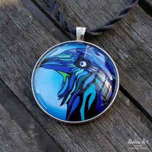 Blue Raven 40mm art pendant cabochon set in antique silver metal