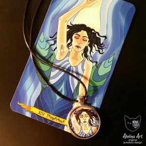 Temperance art pendant and tarot card displayed together